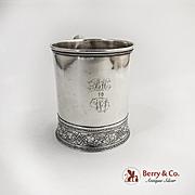 American Coin Silver Mug Ivy Arabesque Embossed Base Schulz Fischer 1875