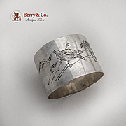 Engraved Bird Floral Napkin Ring Chinese Export Silver Zee Wo 1900