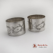 Engraved Crab Floral Napkin Ring Chinese Export Silver Zee Wo 1900