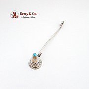 Navajo Turquoise Candle Snuffer Engraved Pattern Sterling Silver 1970