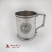 Medallion Engraved Cup Mug Male Female Warrior Gorham Coin Silver