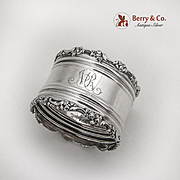 Floral Scroll Napkin Ring Applied Rims Shreve Co Sterling Silver 1895