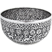 Antique Ornate Bowl Hand Chased Animals Floral Patterns Anglo Indian Sterling Silver 1893