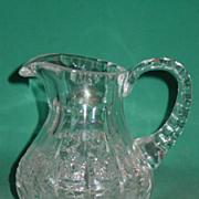 Antique Cut Glass Cream Pitcher Jug Creamer Thumbprint Hobstar Beautiful