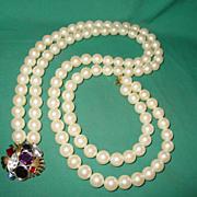SALE Vintage Givenchy Necklace Large Double Strand Imitation Pearl Chunky Rhinestone Closure