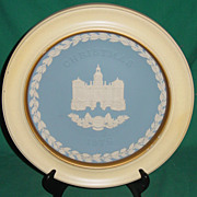 Vintage Wedgwood Jasperware Christmas Plate 1978 Horse Guards with Wood Frame