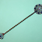 Antique French Cloisonne Brass Enameled Spoon Ornate Twisted Stem