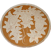 Vintage Oaxaca Mexico Art Pottery Charger Plaque 14 Inch Platter 1940's Leaf Grape