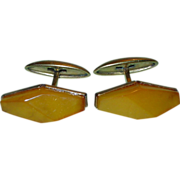 SALE Vintage Art Deco Russian Gold Plate Baltic Amber Cufflinks Natural Authentic