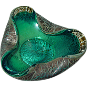 Vintage Murano Art Glass Bowl Genuine Venetian Crackle Glass Blue Green Rare and Unique