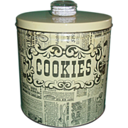 SOLD Vintage Cookie Tin 1950's Blue Magic Krispy Kan Dri Knob Cracker Canister