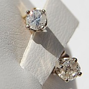 REDUCED Vintage 14K Gold Diamond  Stud Earrings