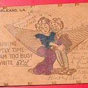 SALE 1908 Romantic Leather Postcard