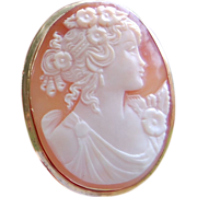 REDUCED Antique 18K Gold Shell Cameo Brooch/Pendant