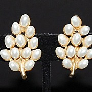 REDUCED Vintage ART Faux Pearl Leaf Earrings