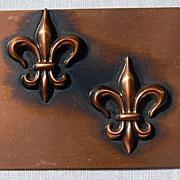 REDUCED Signed Rebajes Modernist Copper Fleur d Lis Brooch/Pin