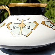 SOLD 1909 Handpainted Butterfly Signed Germany Pitcher