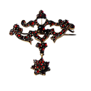 REDUCED Beautiful Victorian Rose Cut Day to Night Garnet Brooch
