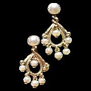 REDUCED Vintage 14K Gold Screw Back Dangle Pearl Earrings