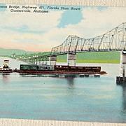 Vintage Postcard George Houston Bridge Guntersville Alabama
