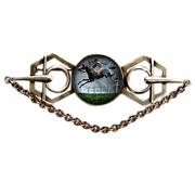 REDUCED 1910 - 1915 Reverse Painted Equestrian Steeple Chase Brooch