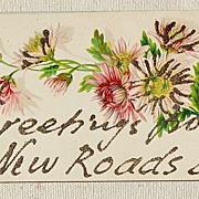 REDUCED Vintage Embossed Glitter Postcard New Roads Louisiana
