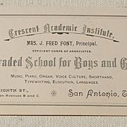 Vintage Crescent Academic Institute San Antonio Texas Card