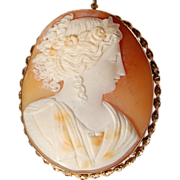REDUCED Victorian Gold Filled Large Shell Cameo Brooch/Pendant
