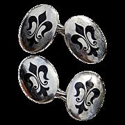 REDUCED Vintage Sterling Silver Fleur d Lis Enamel Cuff Links