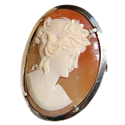 REDUCED Vintage 800 Silver Shell Cameo Brooch/Pendant