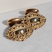 Ornate Victorian Repousse Gold Filled Cuff Links