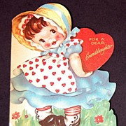 SALE Vintage 1940's American Greeting Valentine Card Granddaughter