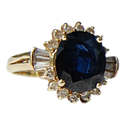 REDUCED Vintage 14 K Gold  4.56 Ct. Sapphire & Diamond Ring