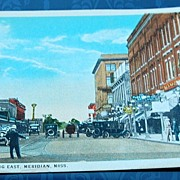 Vintage Postcard 5th Street Looking East Meridian Mississippi