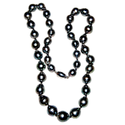 REDUCED Beautiful Vintage Tahitian Black Baroque Cultured Pearl Necklace 18K Catch