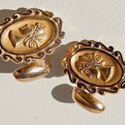 REDUCED Vintage Gold Filled Fancy Ladies Head Motif Cuff Links
