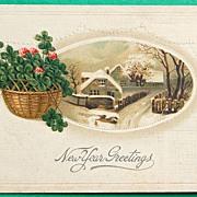 Deco Embossed German New Year Card