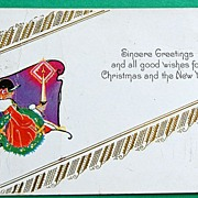 1928 Art Deco Embossed  Christmas & New Year Postcard