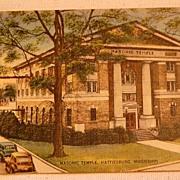 1951 Vintage Postcard Masonic Temple Hattisburg Mississippi