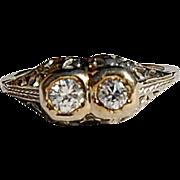 REDUCED Wonderful Art Deco 18K Gold Diamond Filigree Ring