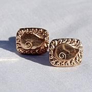 SALE Vintage Gold Filled Swirl Motif Cuff Links