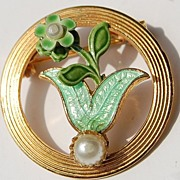 REDUCED Vintage Circle Enamel Faux Pearl Brooch