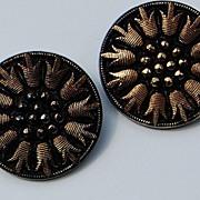 SALE Vintage Black & Gold Glass Large Button Earrings