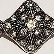 Art Deco Sterling Silver Paste Rhinestone Brooch