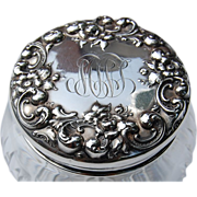 REDUCED Sterling Silver & Cut Crystal Floral Repousse Dresser Jar