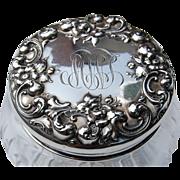 REDUCED Sterling Silver & Cut Crystal Floral Repousse Dresser Jar