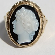 REDUCED Antique Victorian 14K Gold Sardonyx Cameo Ring