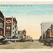 Texas Street Looking East, Shreveport, La. Postcard