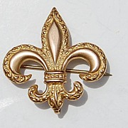 SALE Large Victorian Gold Filled Repousse Fleur D Lis Watch Pin With Safety