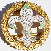 SALE Wonderful Vintage Fleur D Lis Enameled Belt Buckle